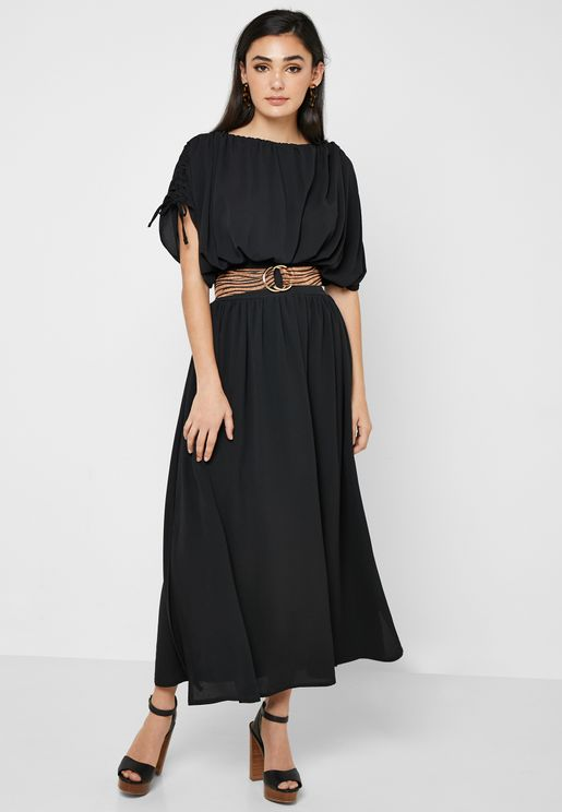 Tie Sleeve Pleated Dress