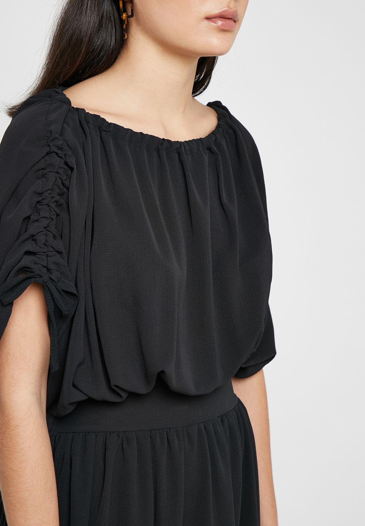 Tie Sleeve Pleated Dress