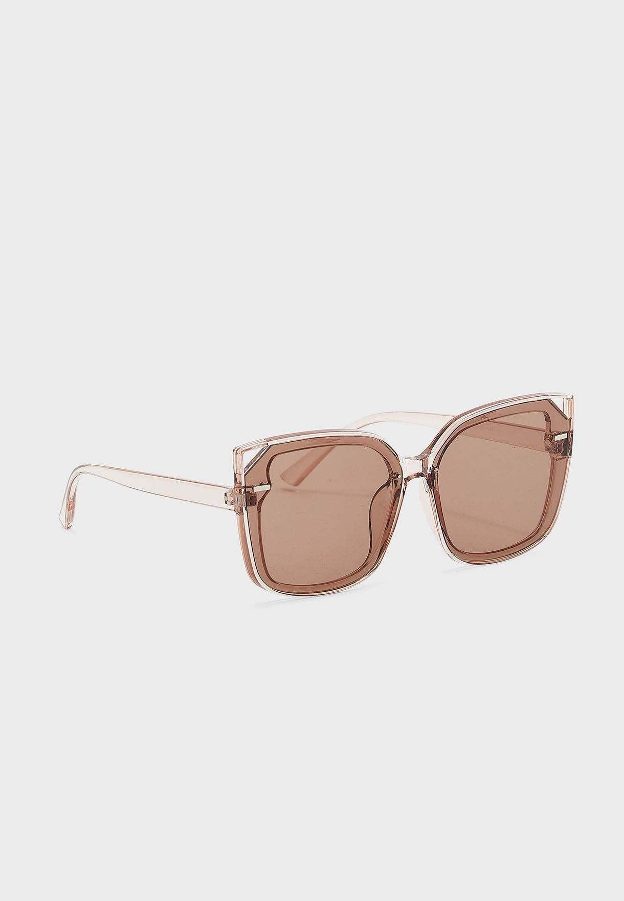Oversized Square Sunglasses with Metal Detail