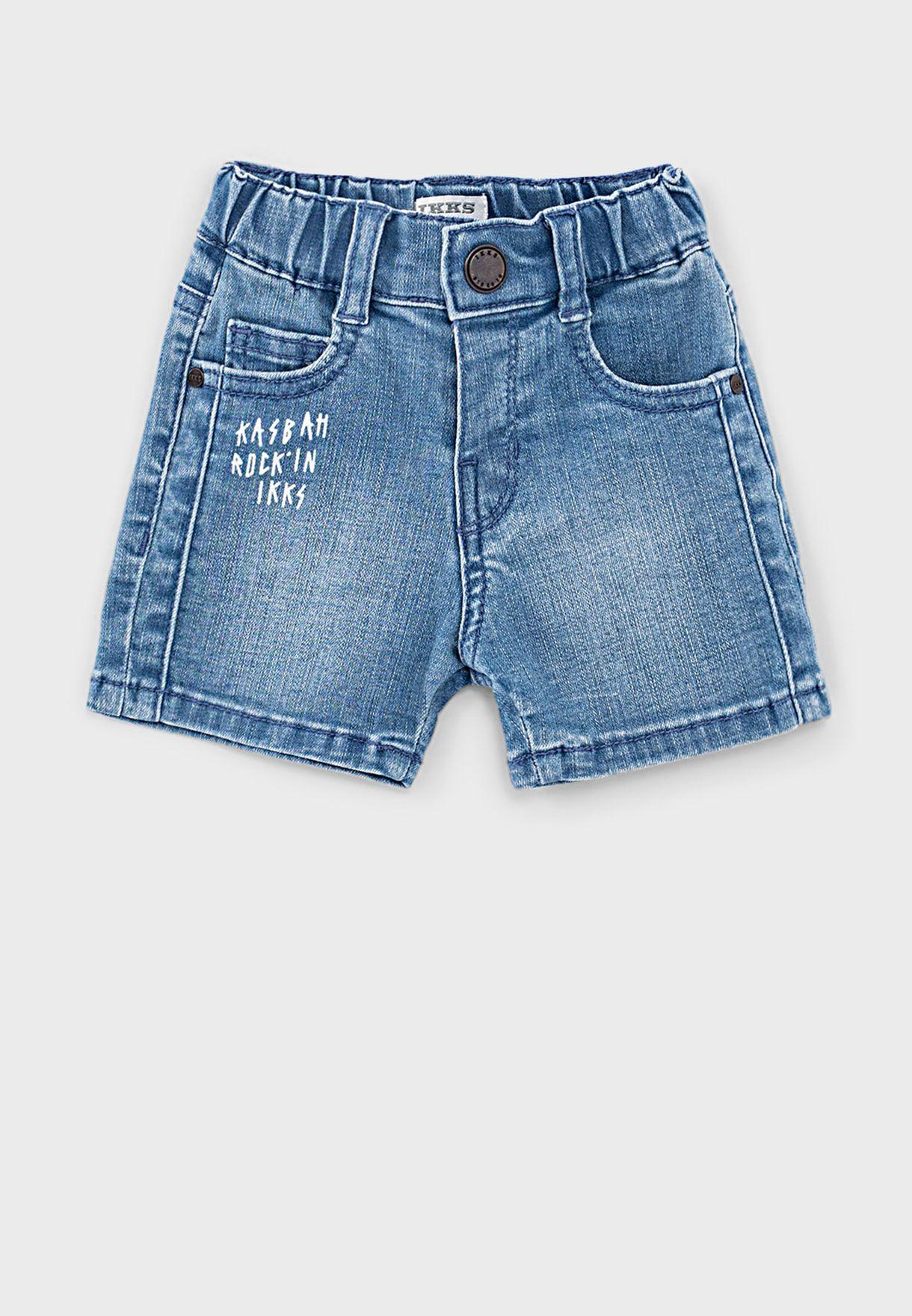 Kids Light Wash Denim Shorts