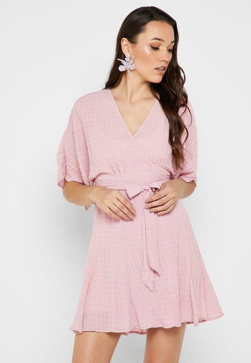 Textured Ruffle Detail Wrap Dress