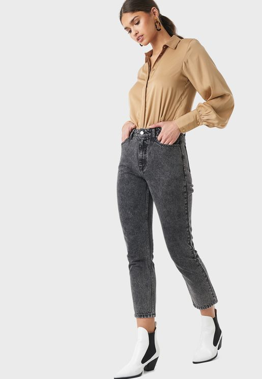 Mid Wash Cropped Jeans