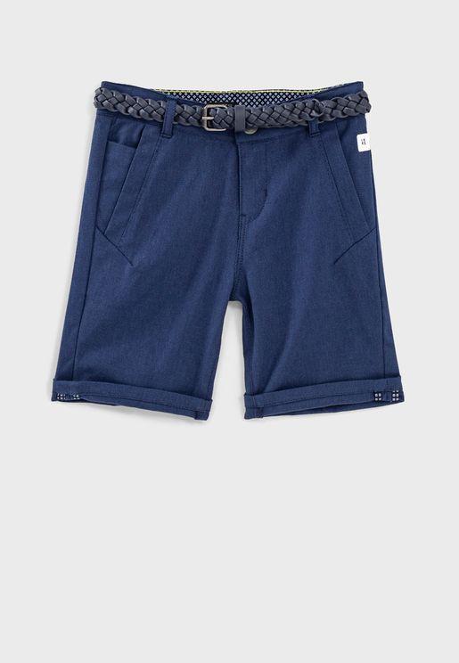 Kids Textured Shorts With Braided Belt