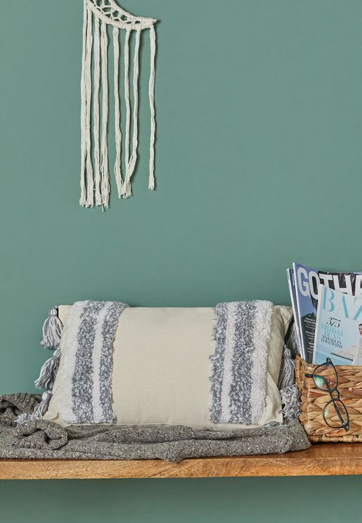 Grey Rectangle Tassel Cushion