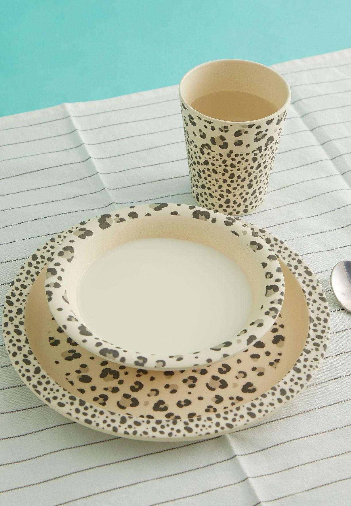 طقم ادوات مائدة خيزران مطبع