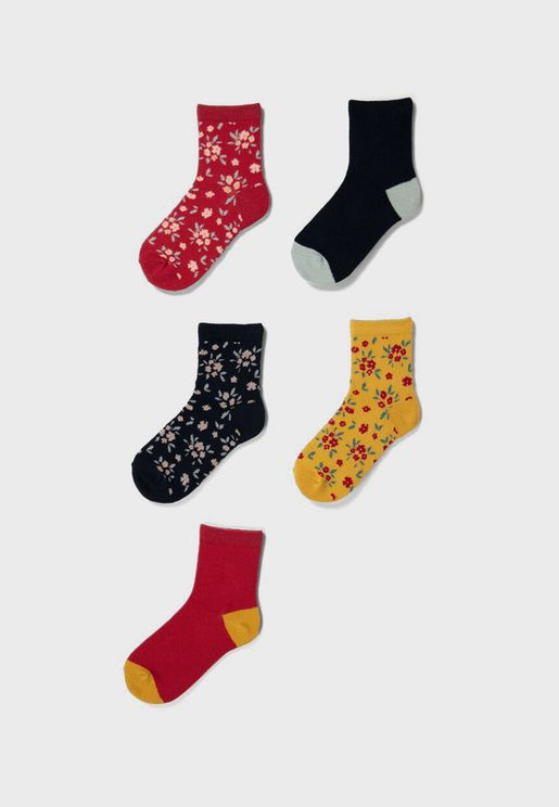Kids 5 Pack Assorted Crew Socks