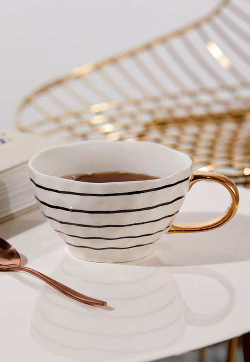 Wave Top Footed Striped Mug