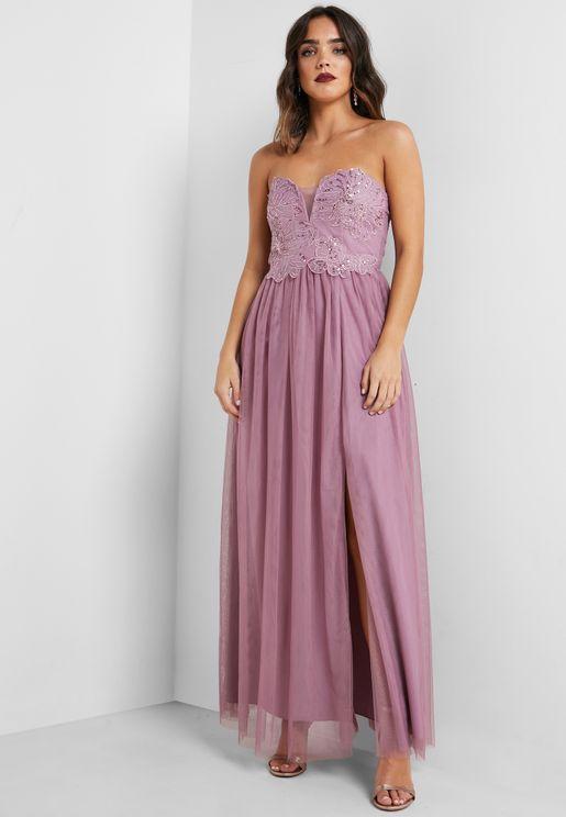 Front Split Bandeau Dress