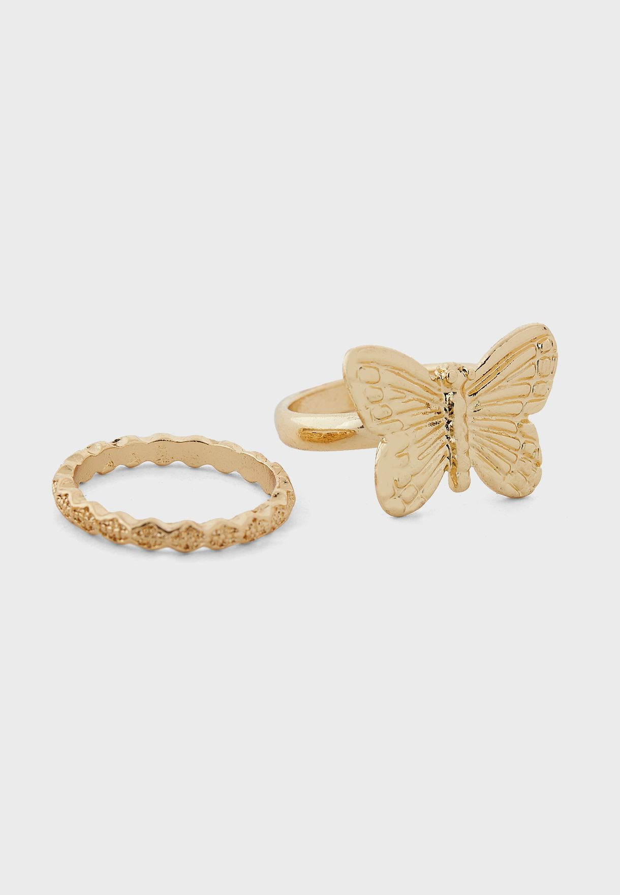 Pack Of 3 Butterfly And Diamante Rings