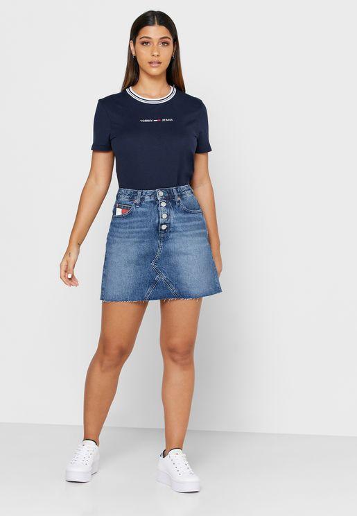 تنورة جينز بأزرار