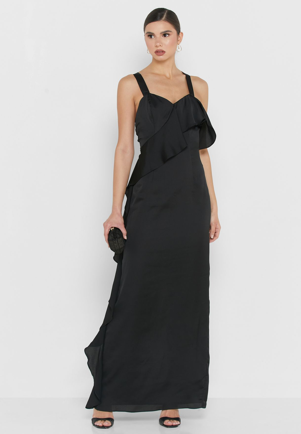 Ruffle Trim Cami Strap Gown