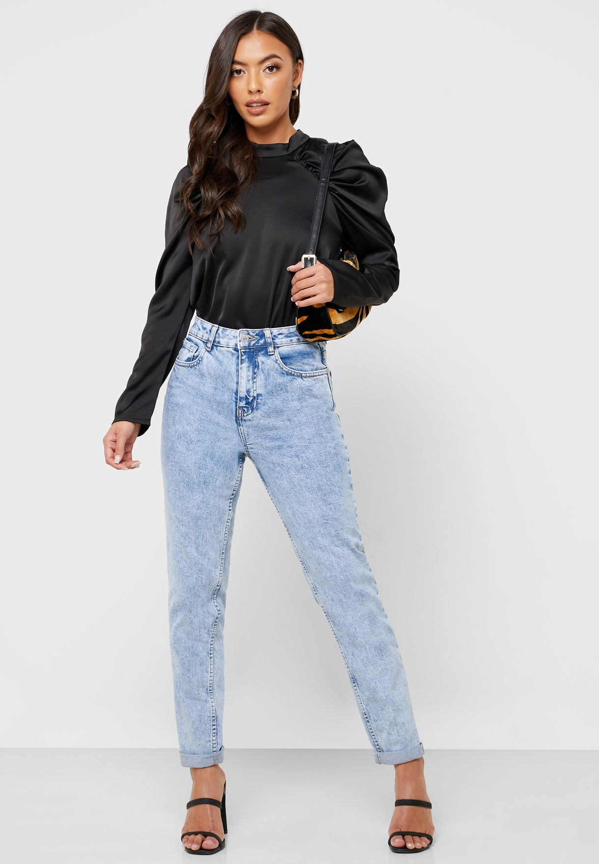 High Neck Ruched Sleeve Top