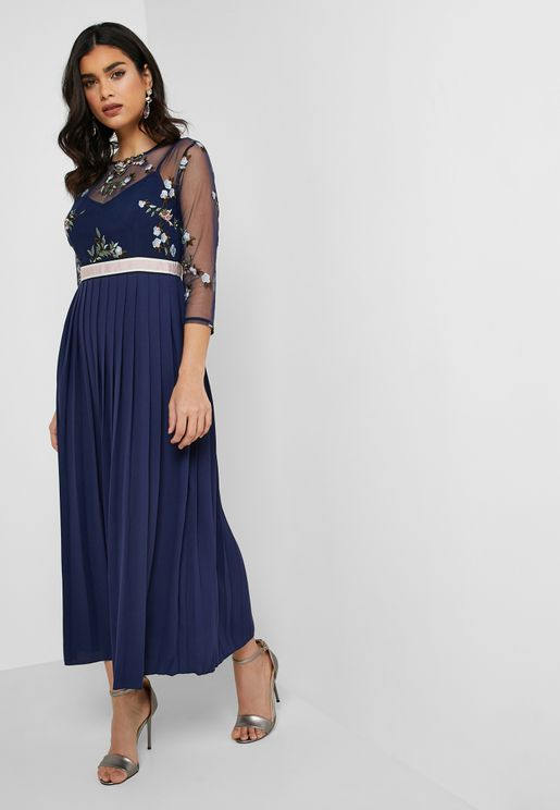Embroidered Sheer Pleated Dress