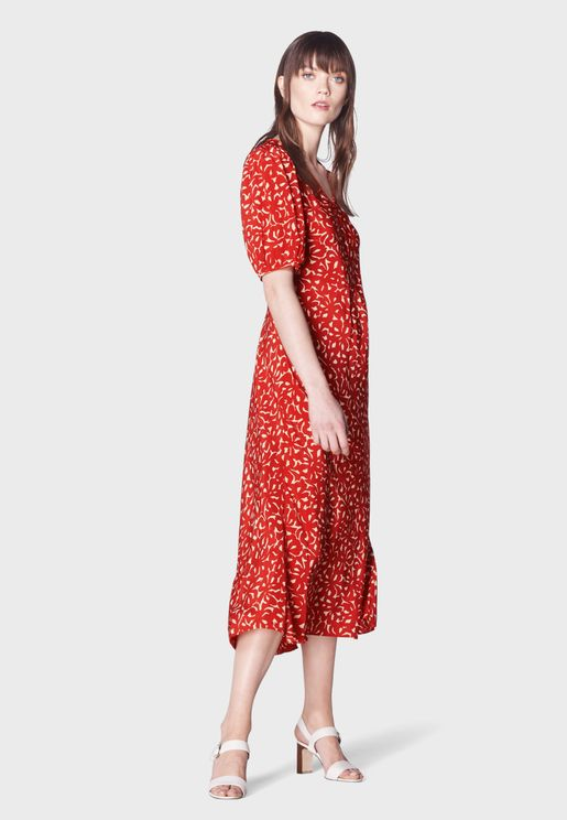 Dr Simpson Puff Sleeve Floral Print Dress