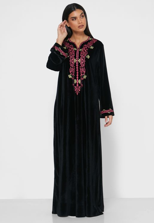 Machine Embroidered Velvet Nightdress