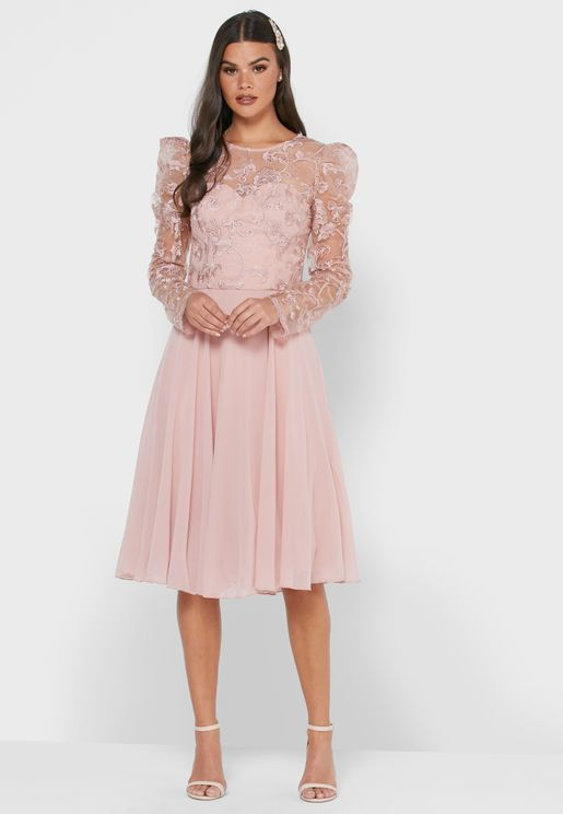 Pleated Lace Dtail Dress
