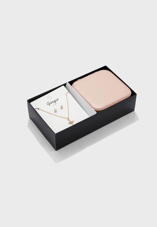 Square Jewellery Travel Case With Jewellery Set