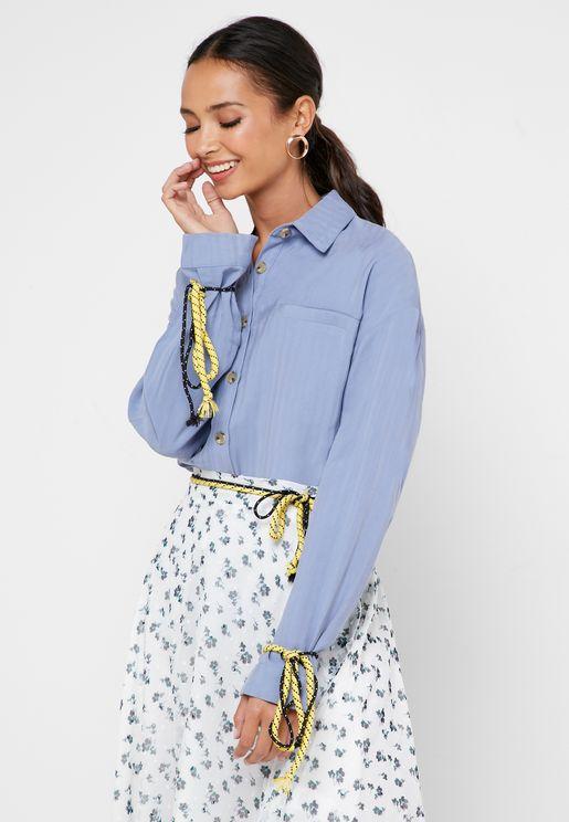 Tie Cuff Button Down Shirt