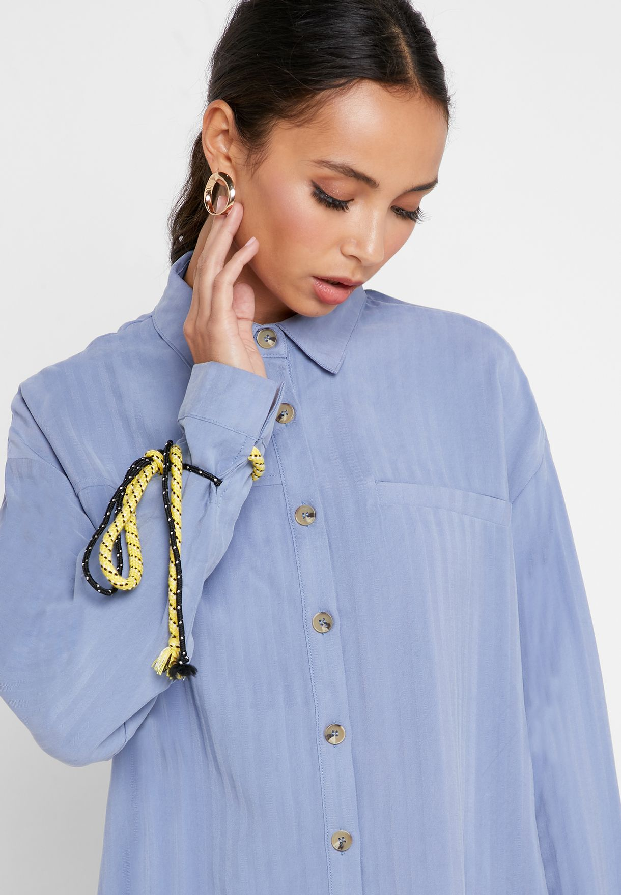 Buy Ghospell Blue Tie Cuff Button Down Shirt For Women, Uae 23288at60yip