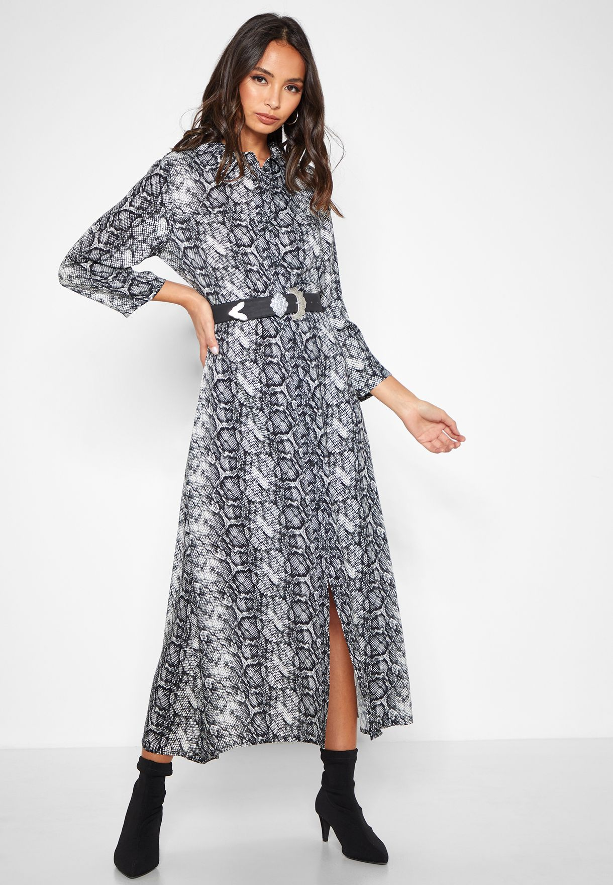 Long Sleeve Snake Print  Maxi Dress