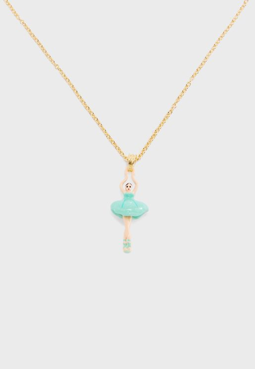 Mini Ballerina In Blue Tutu Necklace