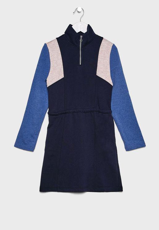 Kids Half Zipper Color Block Dress