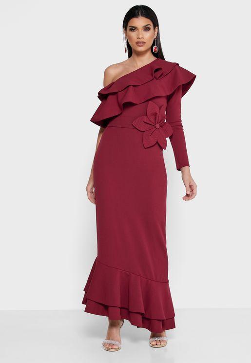 فستان بكتف واحد مع كشكش