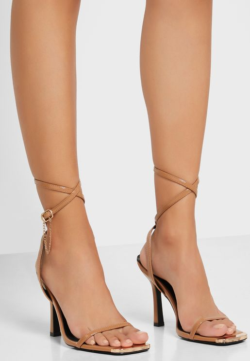 Square Toecap Front Ankle Strap Sandal with Chain