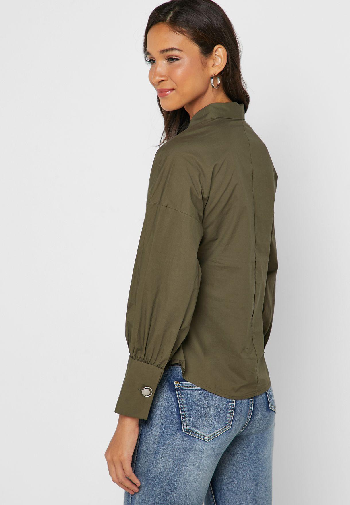 Ring Detail Long Sleeve Shirt
