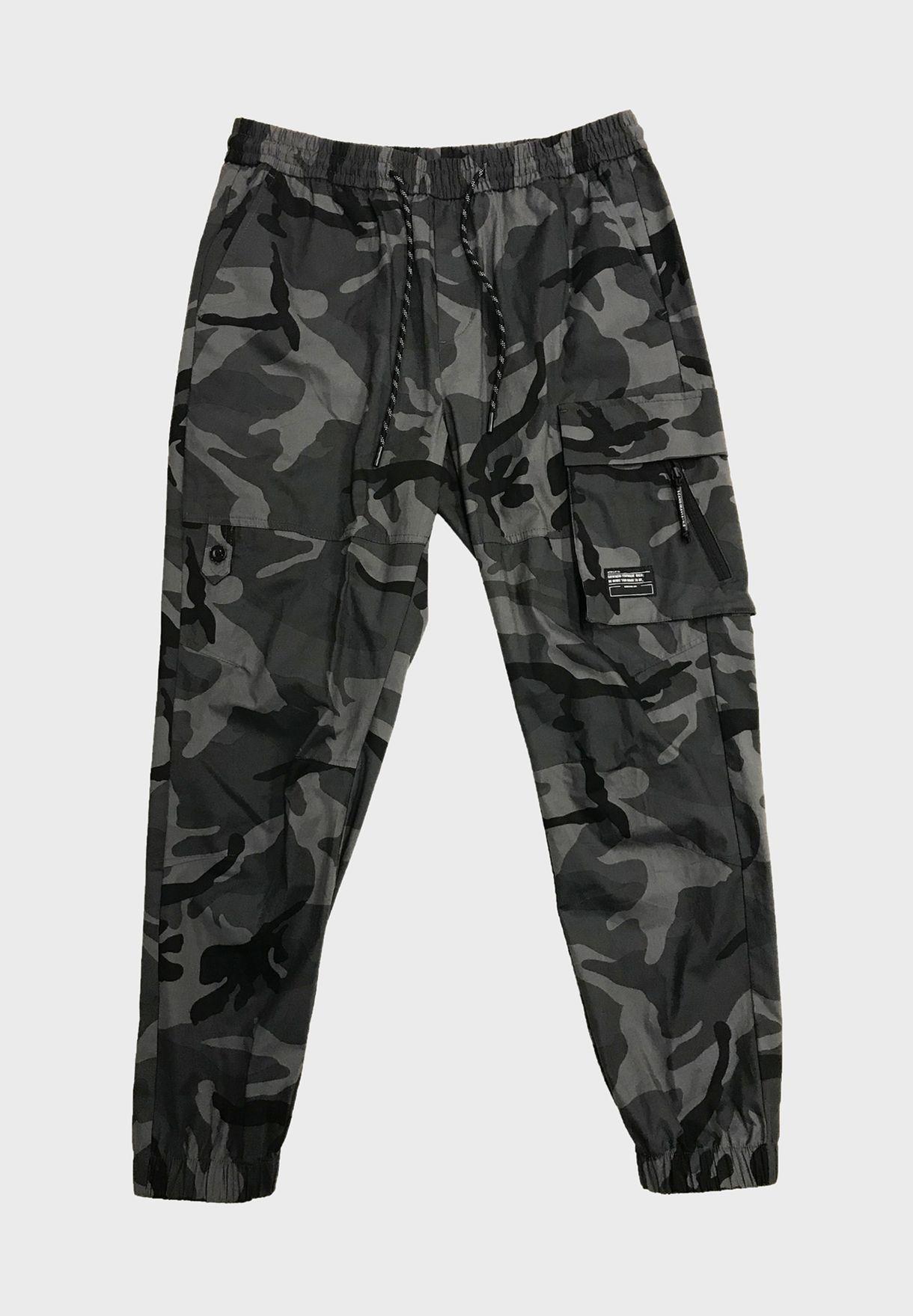 Camo Cuffed Cargo Pants