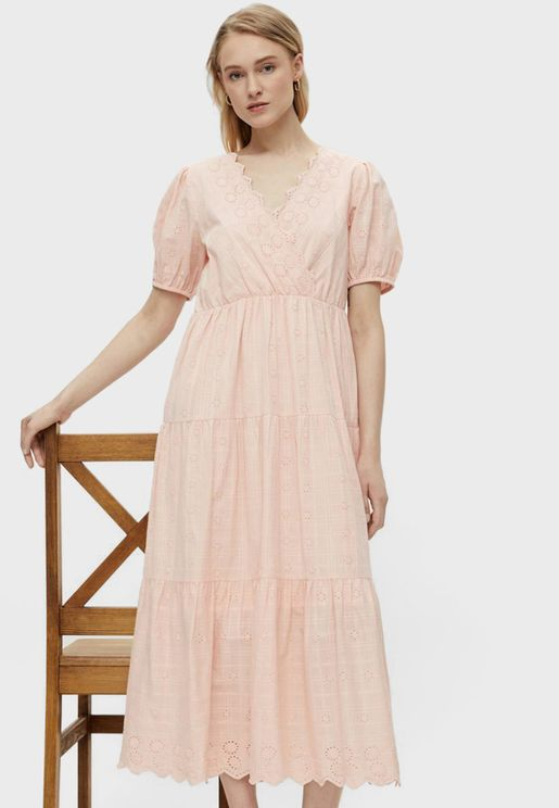 V-Neck Crochet Detail Tiered Midi Dress
