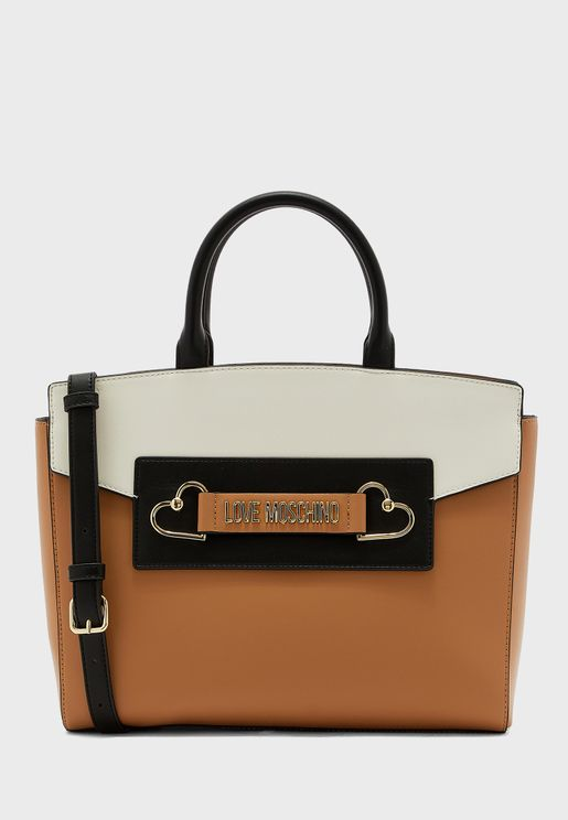 Top Handle Belted Tote