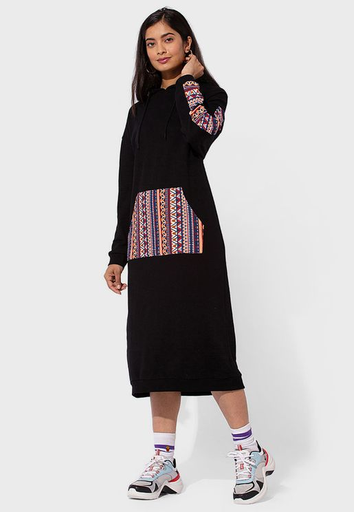 Colorblock Hooded Dress
