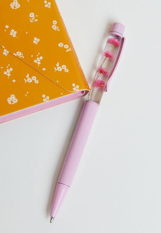 قلم مزين بزهور