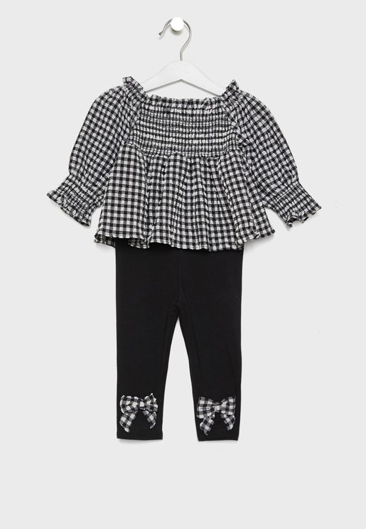 Kids Checked Top + Leggings Set