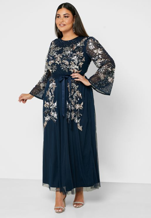 Sequin Sheer Sleeve Pleated Dress