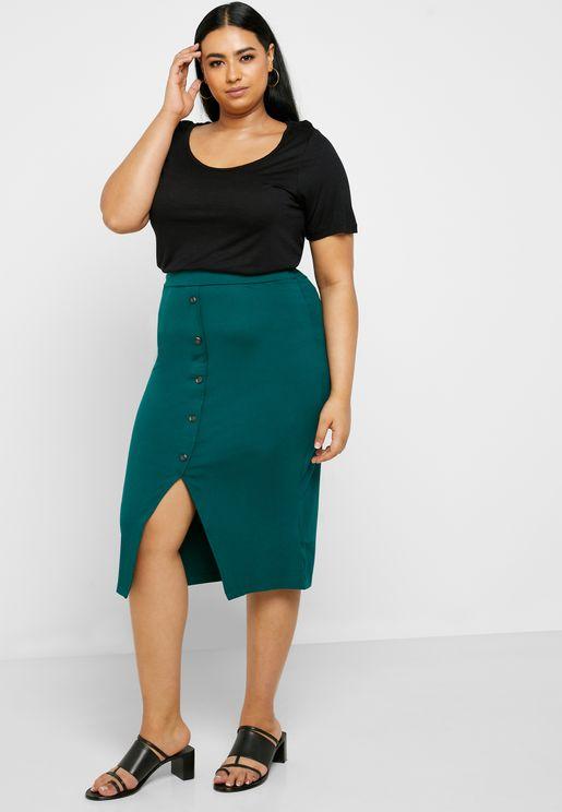 Button Through Tube Maxi Skirt
