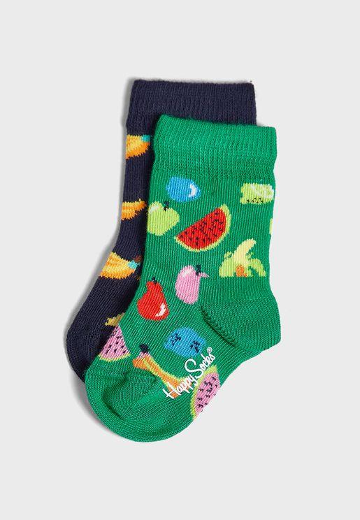 Kids 2 Pack Fruits Print Crew Socks