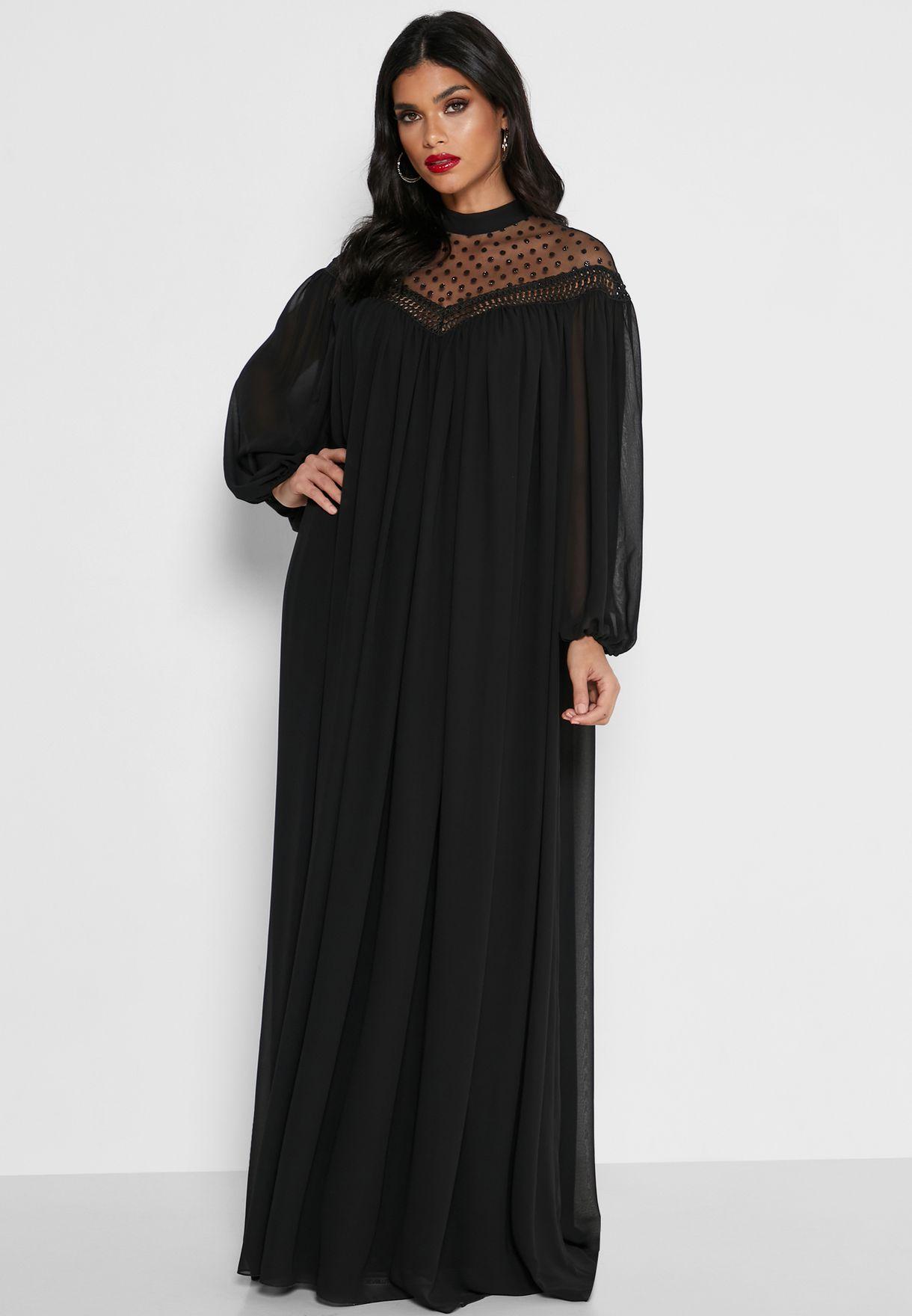Spot Mesh High Neck Dress