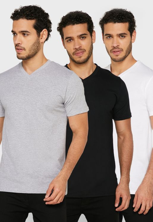 3 Pack Essential V-Neck T-Shirt