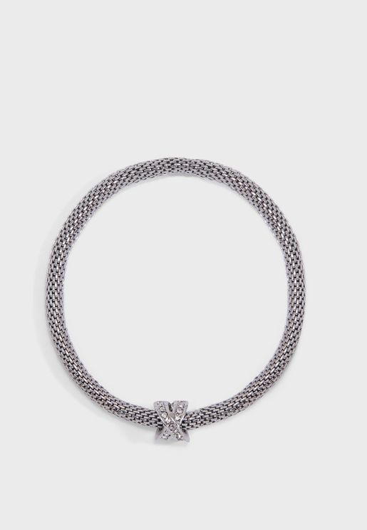 Rhodium Kiss Mesh Bracelet