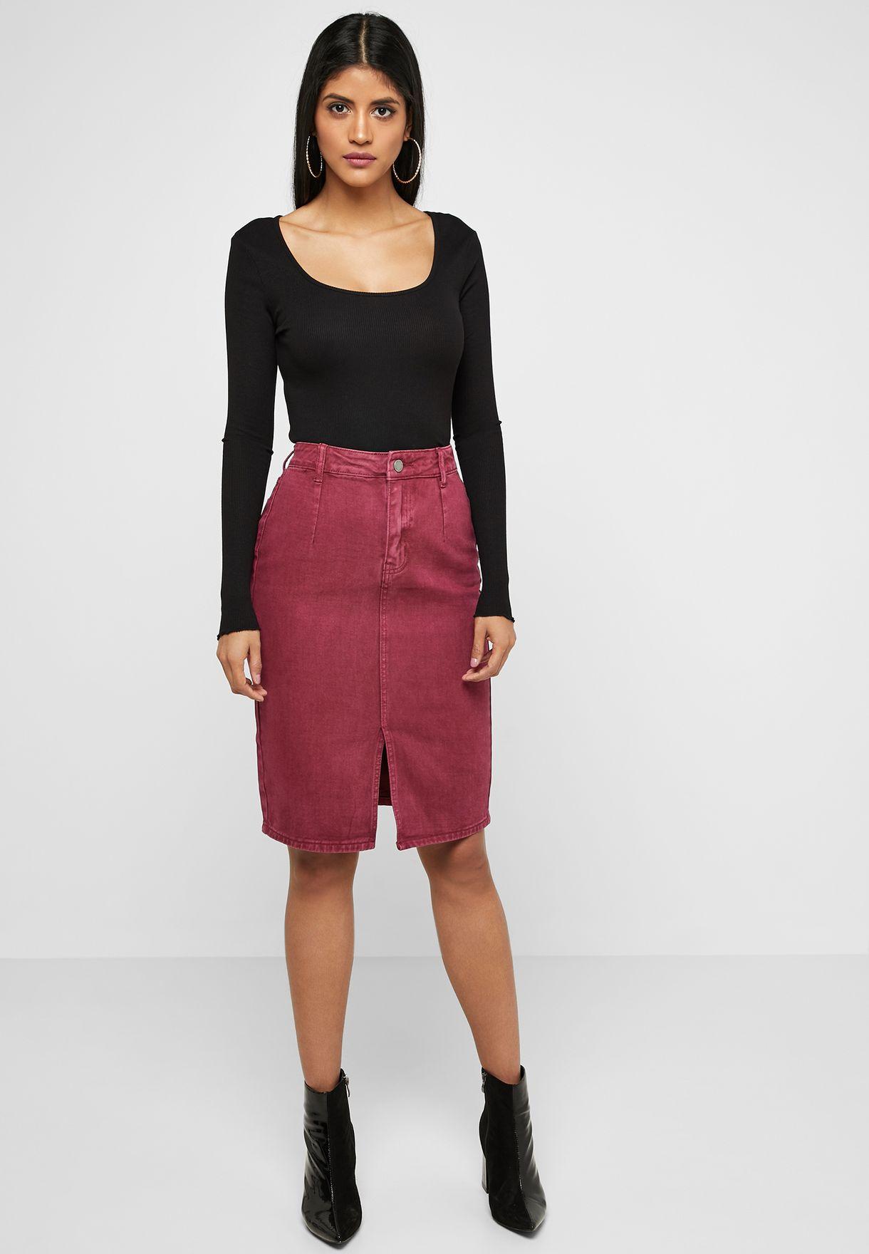 Denim Pencil Midi Skirt with Split