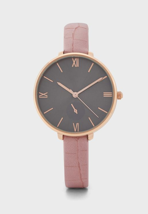 Sub Dial Croc Strap Watch With Numerals