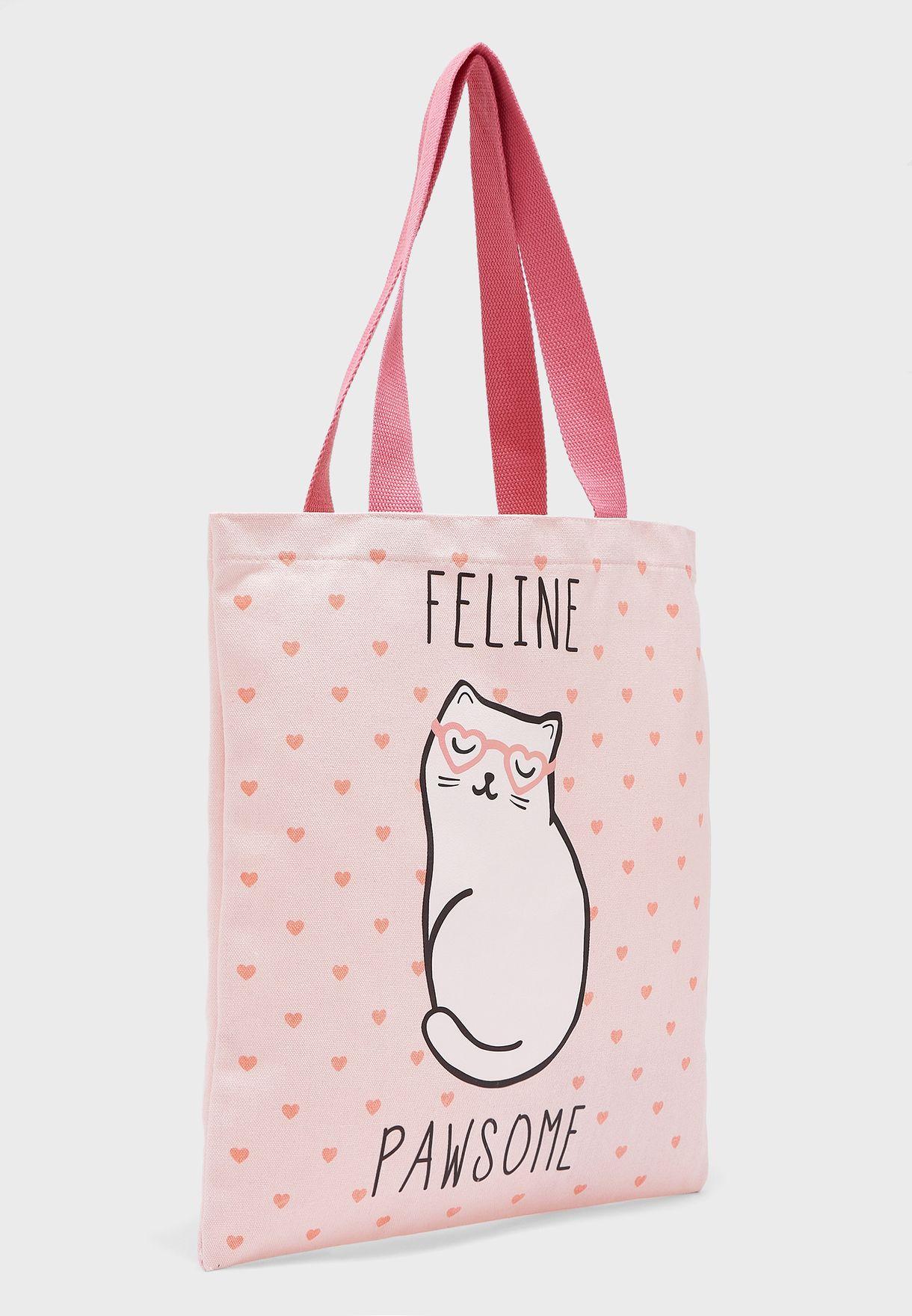 Kids Cutie Cat Feline Pawsome Tote Bag