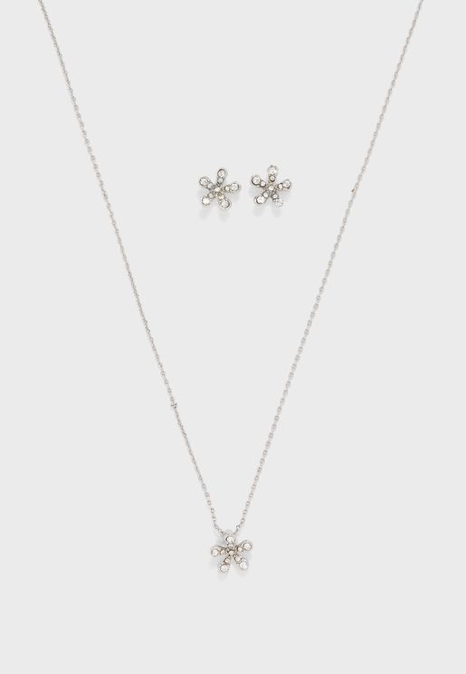 Flower Necklace & Earrings Set