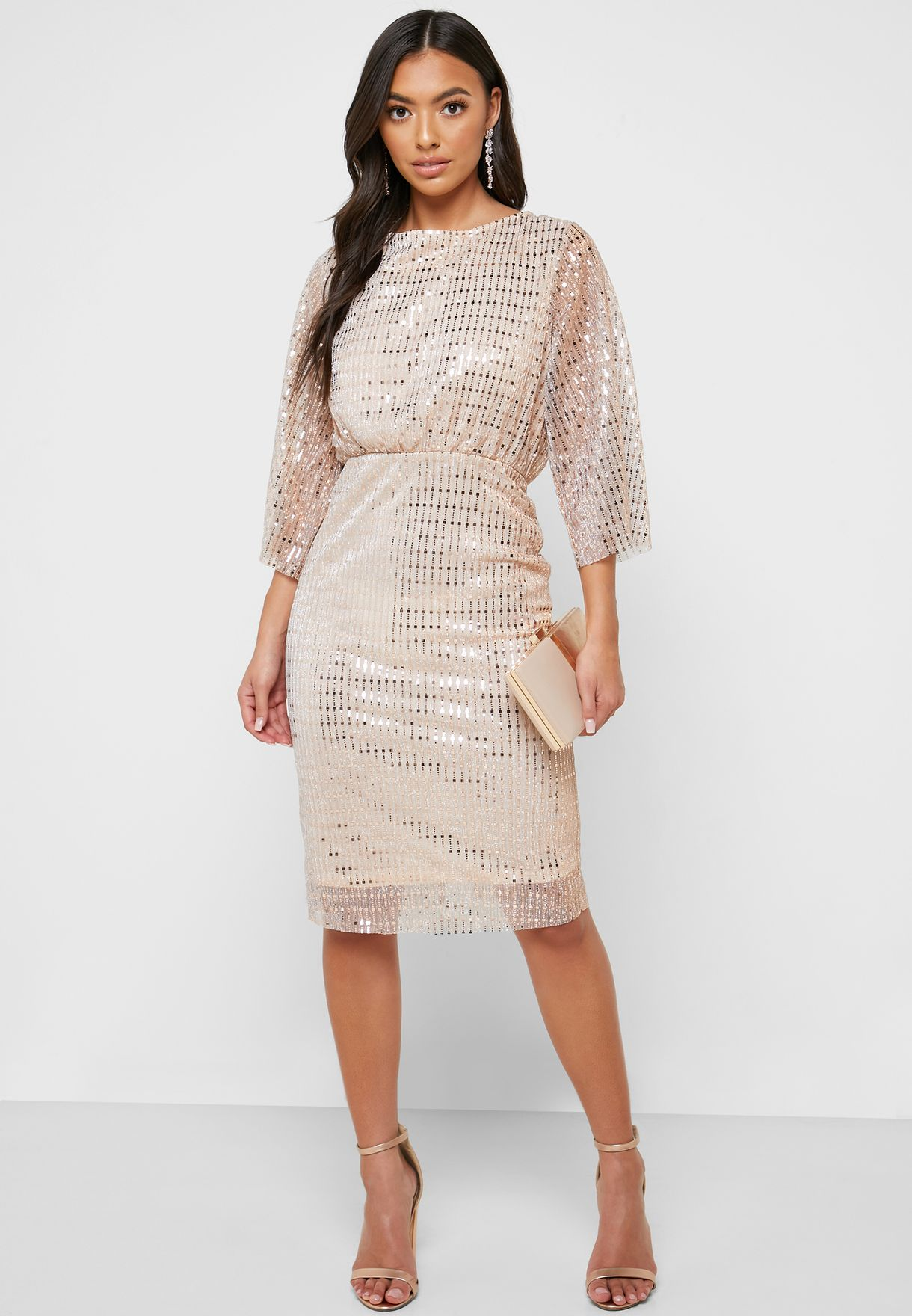Embellished 3/4 Sleeve Dress