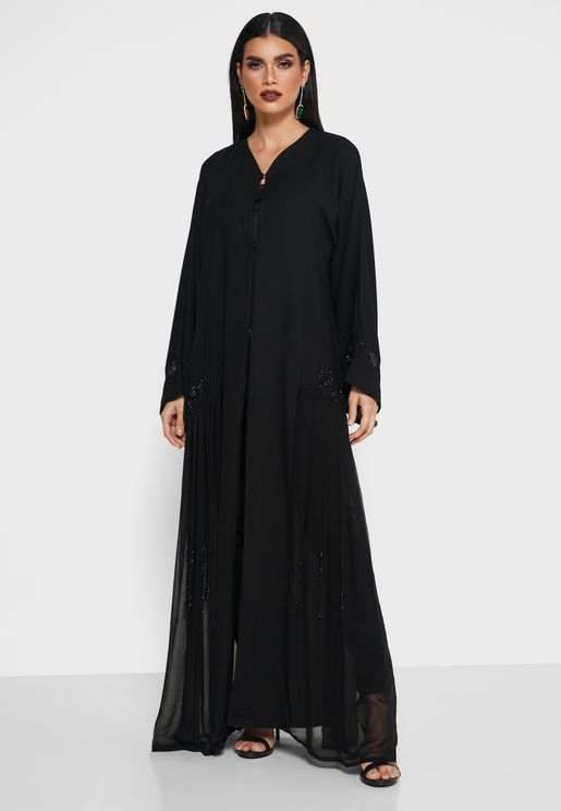 Pleated Sequined Abaya