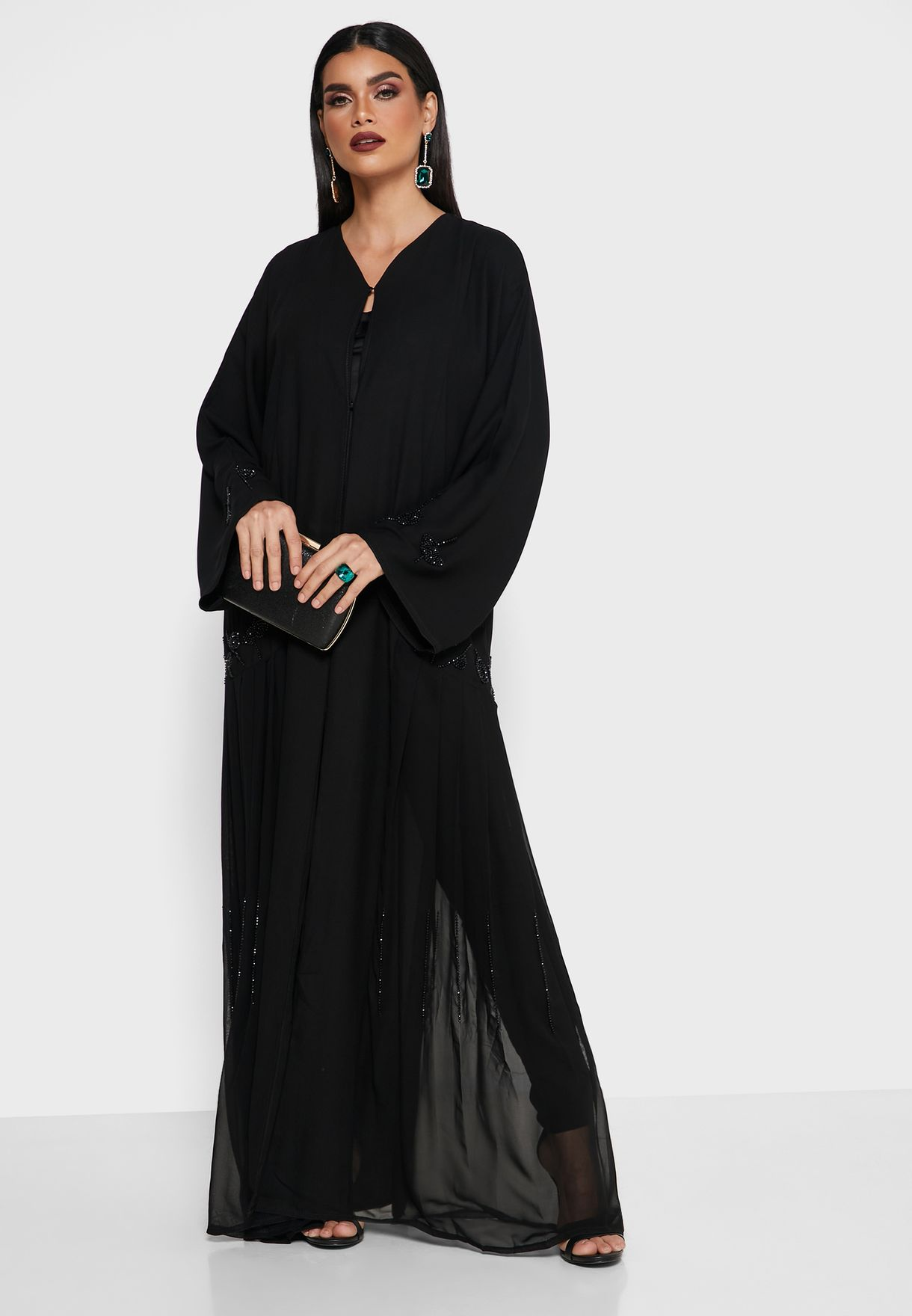 Pleated Sequined Abaya