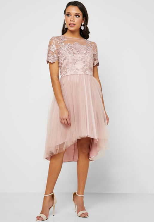 Lace Detail High Low Dress