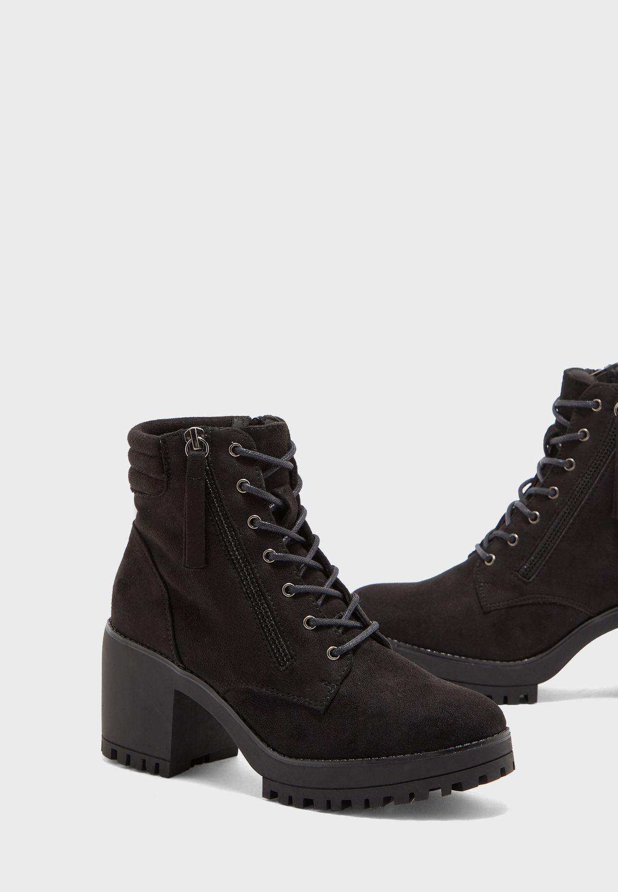 Mid Heel Cleated Sole Ankle Boot